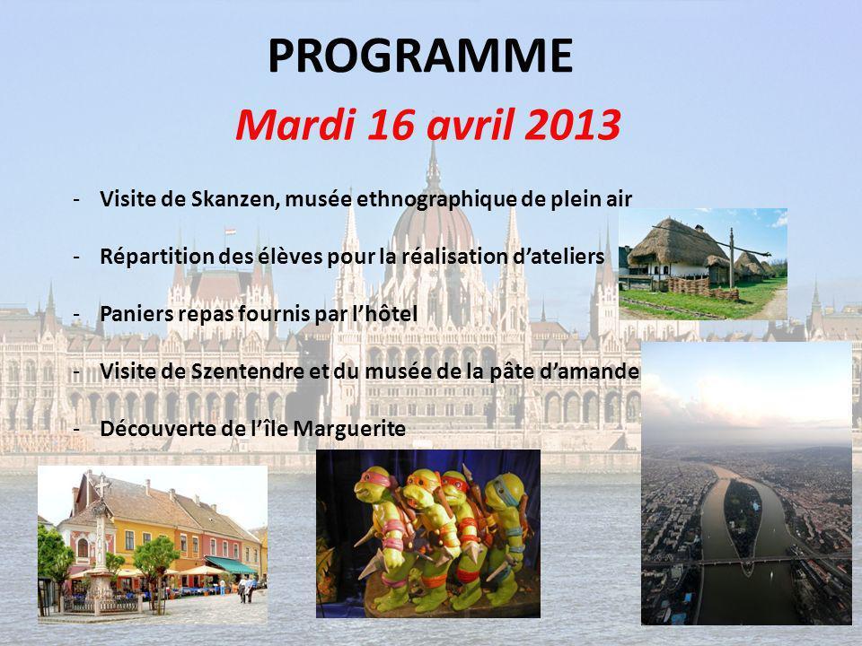 PROGRAMME Mercredi 17 avril 2013 -Visite de Pest : Synagogue, Basilique Saint Etienne et Parlement -Paniers repas fournis par lhôtel -Bains Széchnyi et bois de ville