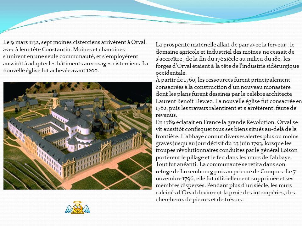 Les premiers moines à s'installer à Orval arrivèrent du sud de lItalie en 1070. Le seigneur de l'endroit, le comte Arnould de Chiny, les accueillit et