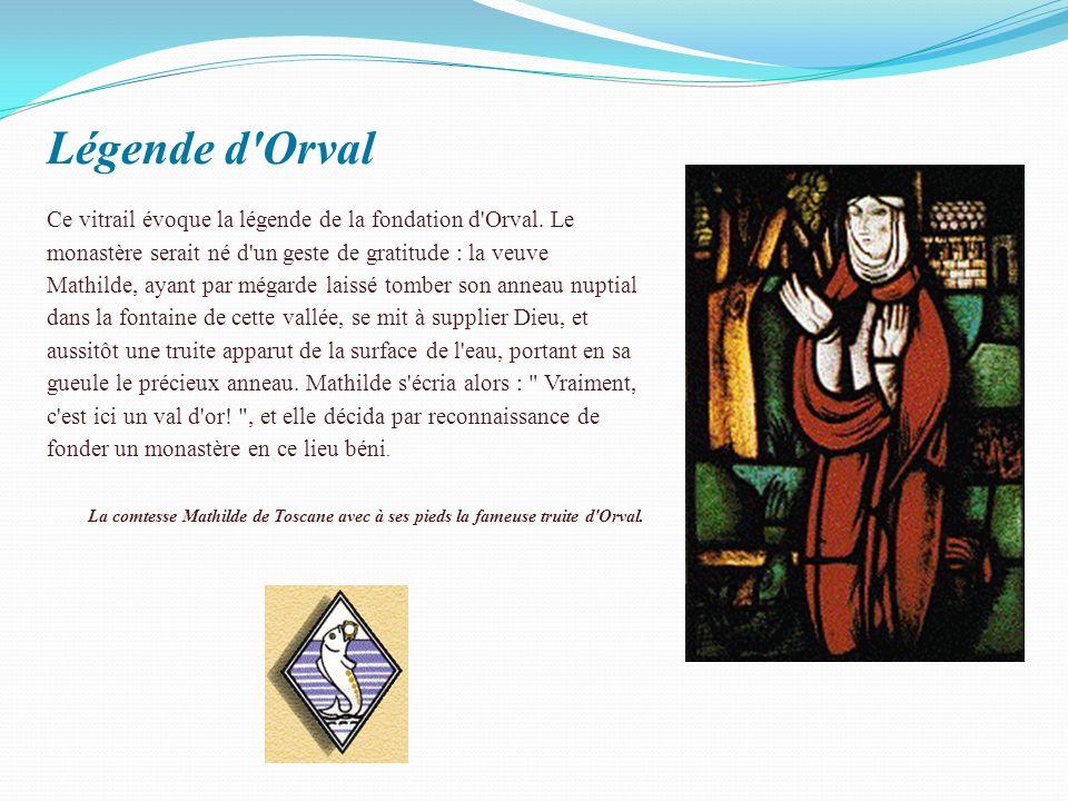 Légende d Orval Ce vitrail évoque la légende de la fondation d Orval.