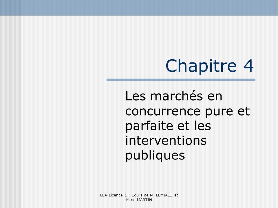 LEA Licence 1 : Cours de M. LEMIALE et Mme MARTIN Chapitre 4 Les marchés en concurrence pure et parfaite et les interventions publiques