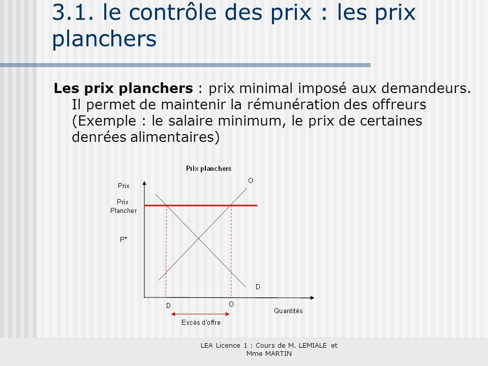 LEA Licence 1 : Cours de M. LEMIALE et Mme MARTIN 3.1. le contrôle des prix : les prix planchers Les prix planchers : prix minimal imposé aux demandeu