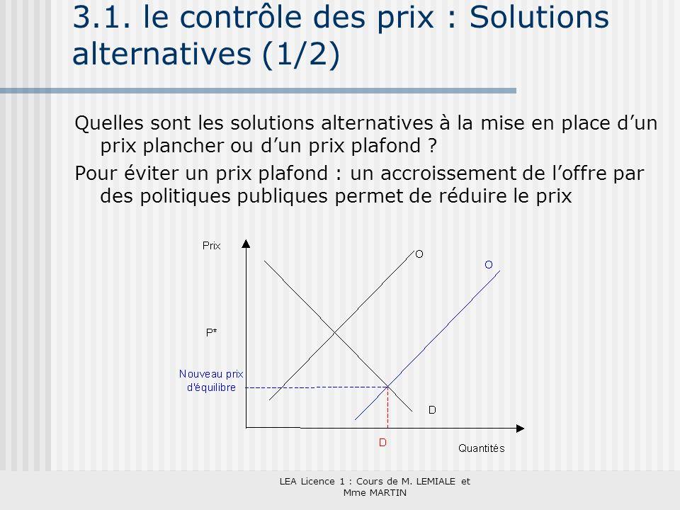 LEA Licence 1 : Cours de M. LEMIALE et Mme MARTIN 3.1. le contrôle des prix : Solutions alternatives (1/2) Quelles sont les solutions alternatives à l