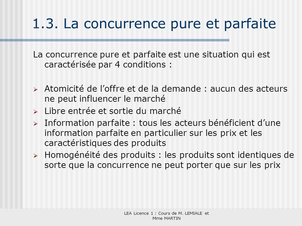 LEA Licence 1 : Cours de M. LEMIALE et Mme MARTIN 1.3. La concurrence pure et parfaite La concurrence pure et parfaite est une situation qui est carac
