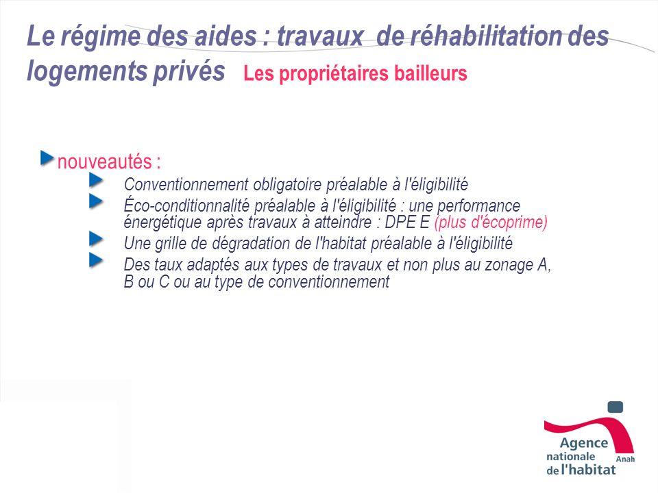 Le régime des aides : travaux de réhabilitation des logements privés Les propriétaires bailleurs nouveautés : Conventionnement obligatoire préalable à