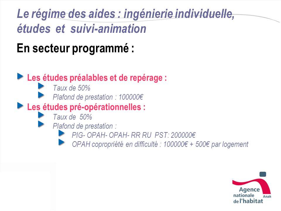 Le régime des aides : ingénierie individuelle, études et suivi-animation En secteur programmé : Les études préalables et de repérage : Taux de 50% Pla
