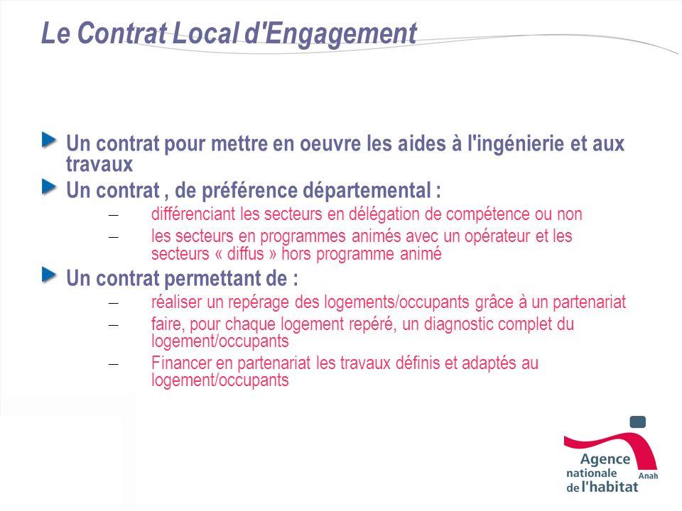 Le Contrat Local d'Engagement Un contrat pour mettre en oeuvre les aides à l'ingénierie et aux travaux Un contrat, de préférence départemental : – dif