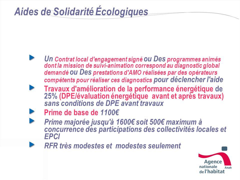 Aides de Solidarité Écologiques Un Contrat local d'engagement signé ou Des programmes animés dont la mission de suivi-animation correspond au diagnost