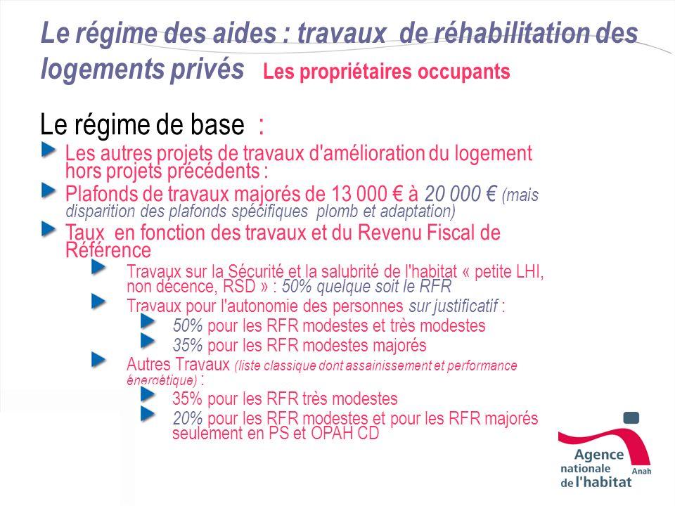 Le régime des aides : travaux de réhabilitation des logements privés Les propriétaires occupants Le régime de base : Les autres projets de travaux d'a
