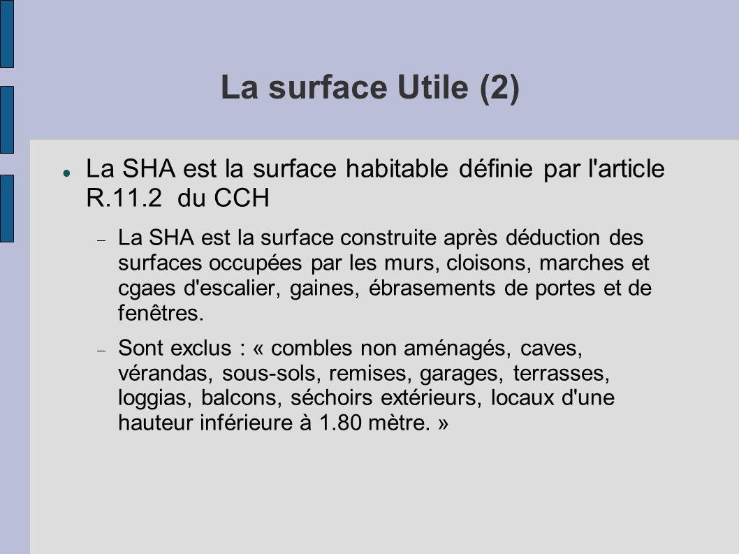 La surface Utile (2) La SHA est la surface habitable définie par l'article R.11.2 du CCH La SHA est la surface construite après déduction des surfaces