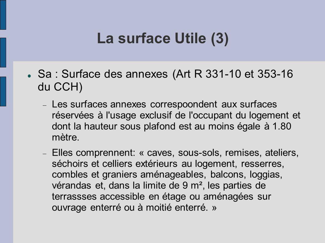 La surface Utile (3) Sa : Surface des annexes (Art R 331-10 et 353-16 du CCH) Les surfaces annexes correspoondent aux surfaces réservées à l'usage exc