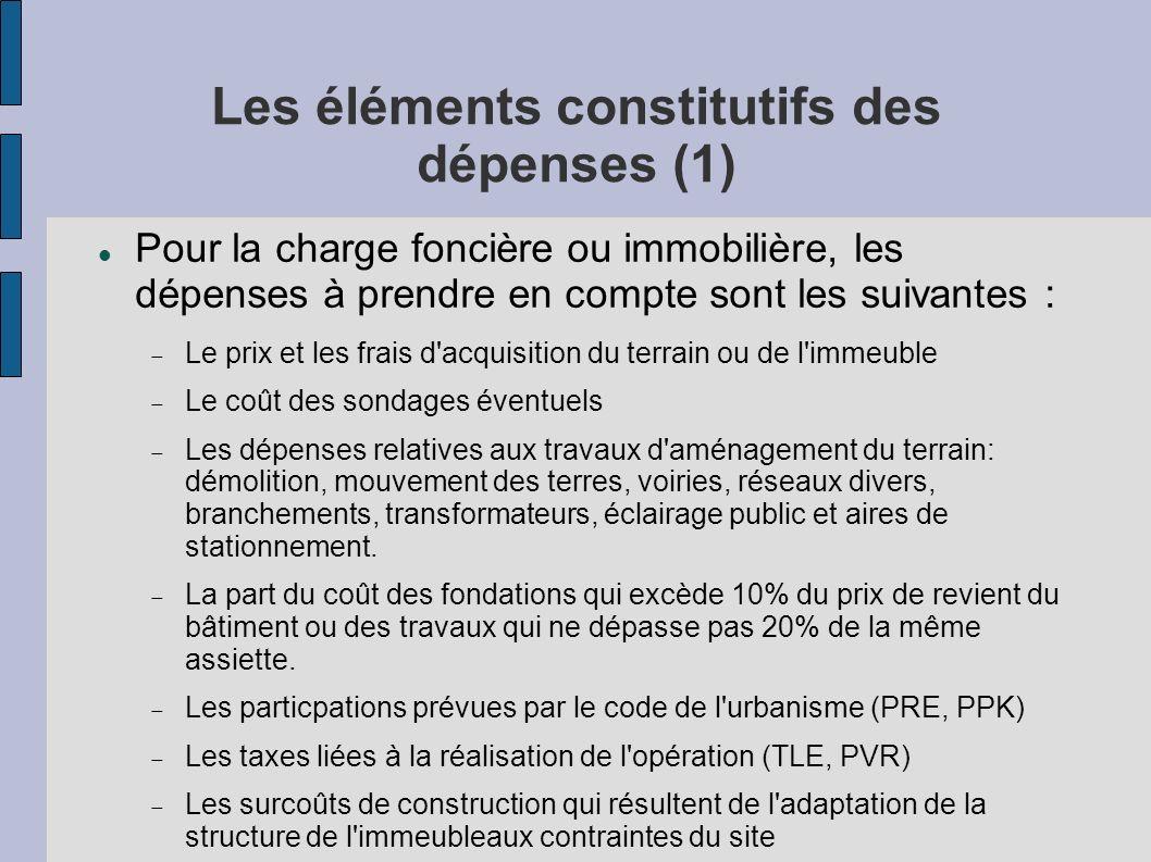 Les éléments constitutifs des dépenses (1) Pour la charge foncière ou immobilière, les dépenses à prendre en compte sont les suivantes : Le prix et le