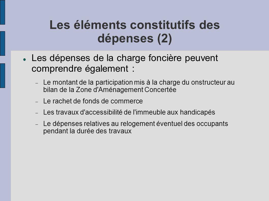 Les éléments constitutifs des dépenses (2) Les dépenses de la charge foncière peuvent comprendre également : Le montant de la participation mis à la c