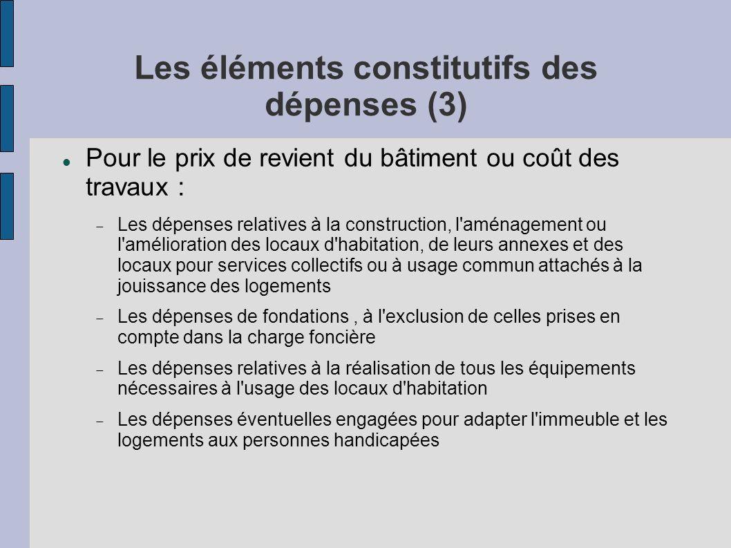 Les éléments constitutifs des dépenses (3) Pour le prix de revient du bâtiment ou coût des travaux : Les dépenses relatives à la construction, l'aména