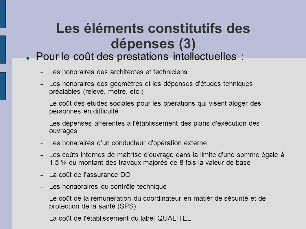 Les éléments constitutifs des dépenses (3) Pour le coût des prestations intellectuelles : Les honoraires des architectes et techniciens Les honoraires