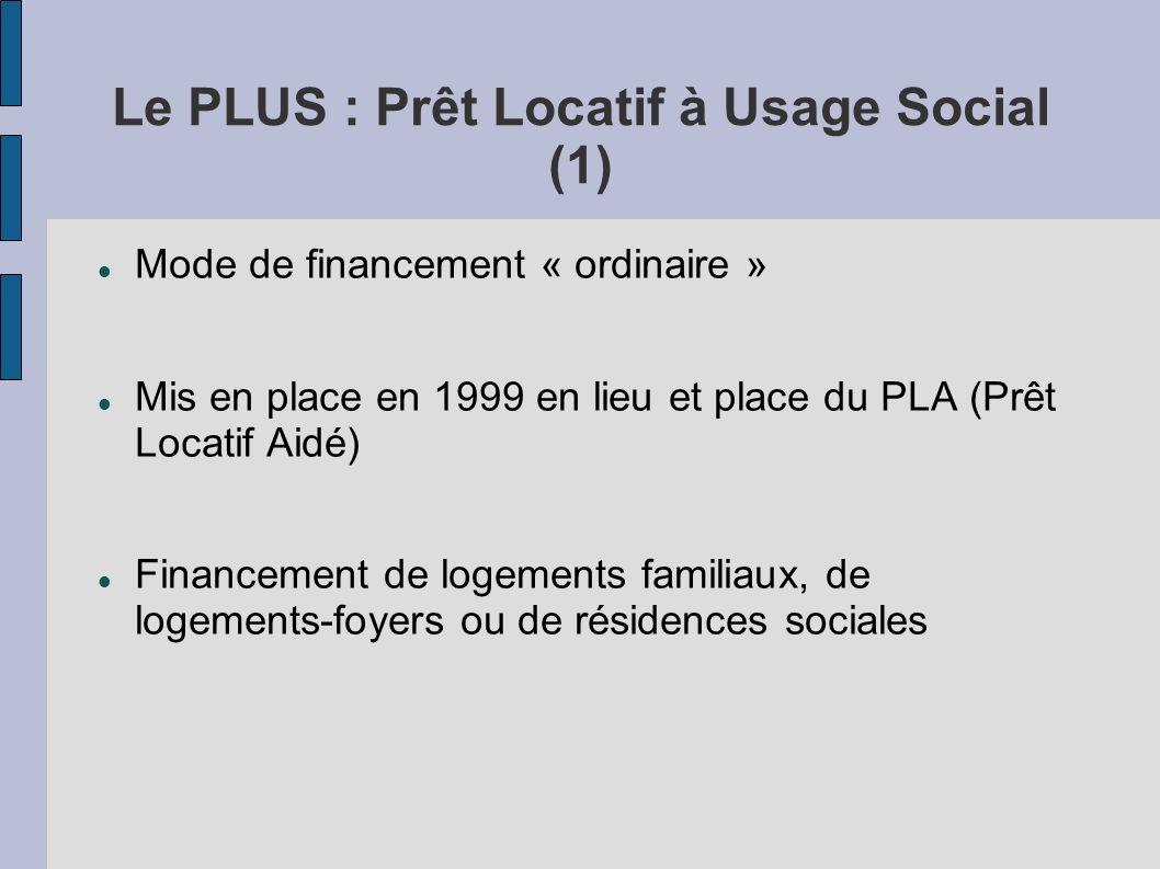Le PLUS : Prêt Locatif à Usage Social (1) Mode de financement « ordinaire » Mis en place en 1999 en lieu et place du PLA (Prêt Locatif Aidé) Financeme