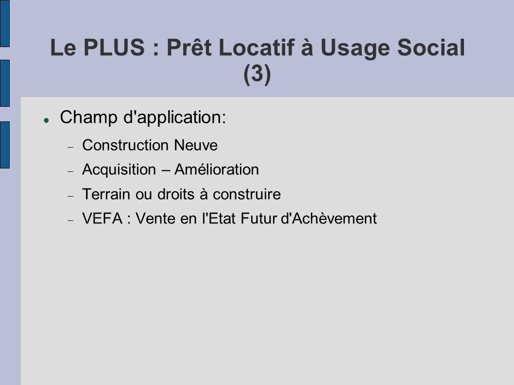 Le PLUS : Prêt Locatif à Usage Social (3) Champ d'application: Construction Neuve Acquisition – Amélioration Terrain ou droits à construire VEFA : Ven