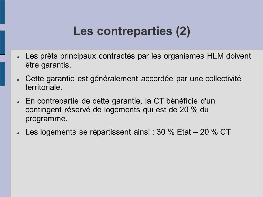 Les contreparties (2) Les prêts principaux contractés par les organismes HLM doivent être garantis. Cette garantie est généralement accordée par une c