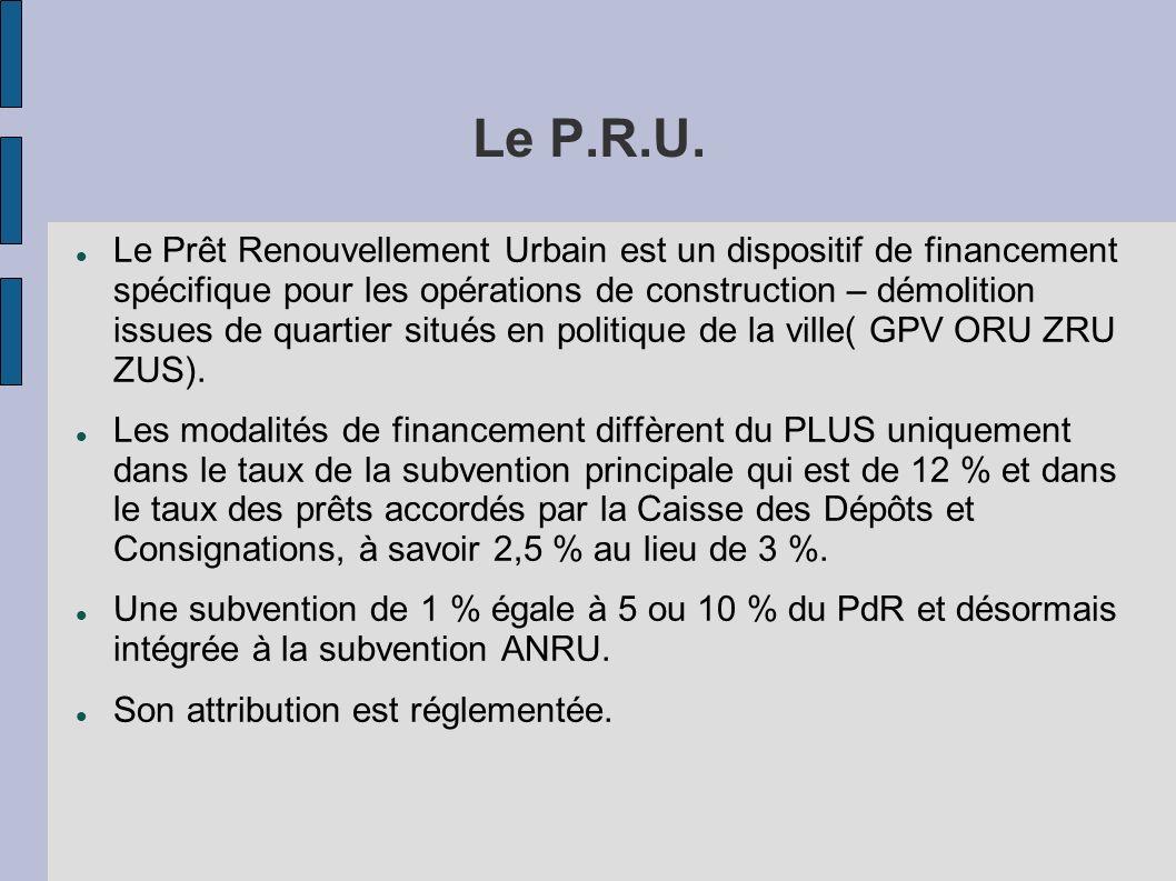 Le P.R.U. Le Prêt Renouvellement Urbain est un dispositif de financement spécifique pour les opérations de construction – démolition issues de quartie