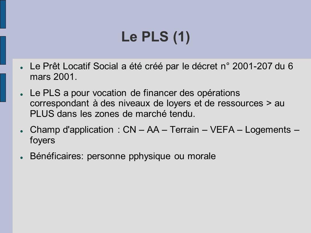 Le PLS (1) Le Prêt Locatif Social a été créé par le décret n° 2001-207 du 6 mars 2001. Le PLS a pour vocation de financer des opérations correspondant