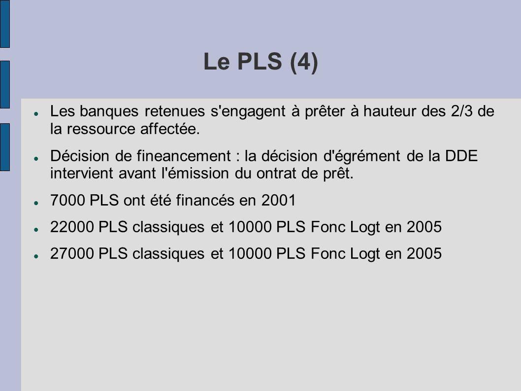 Le PLS (4) Les banques retenues s'engagent à prêter à hauteur des 2/3 de la ressource affectée. Décision de fineancement : la décision d'égrément de l
