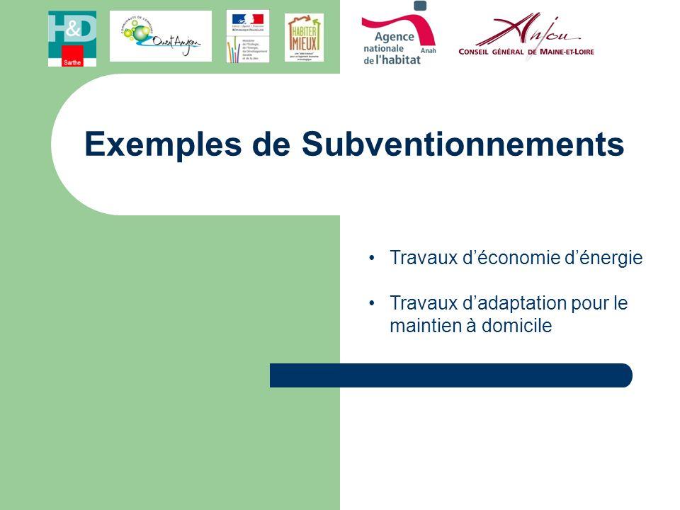 Exemples de Subventionnements Travaux déconomie dénergie Travaux dadaptation pour le maintien à domicile