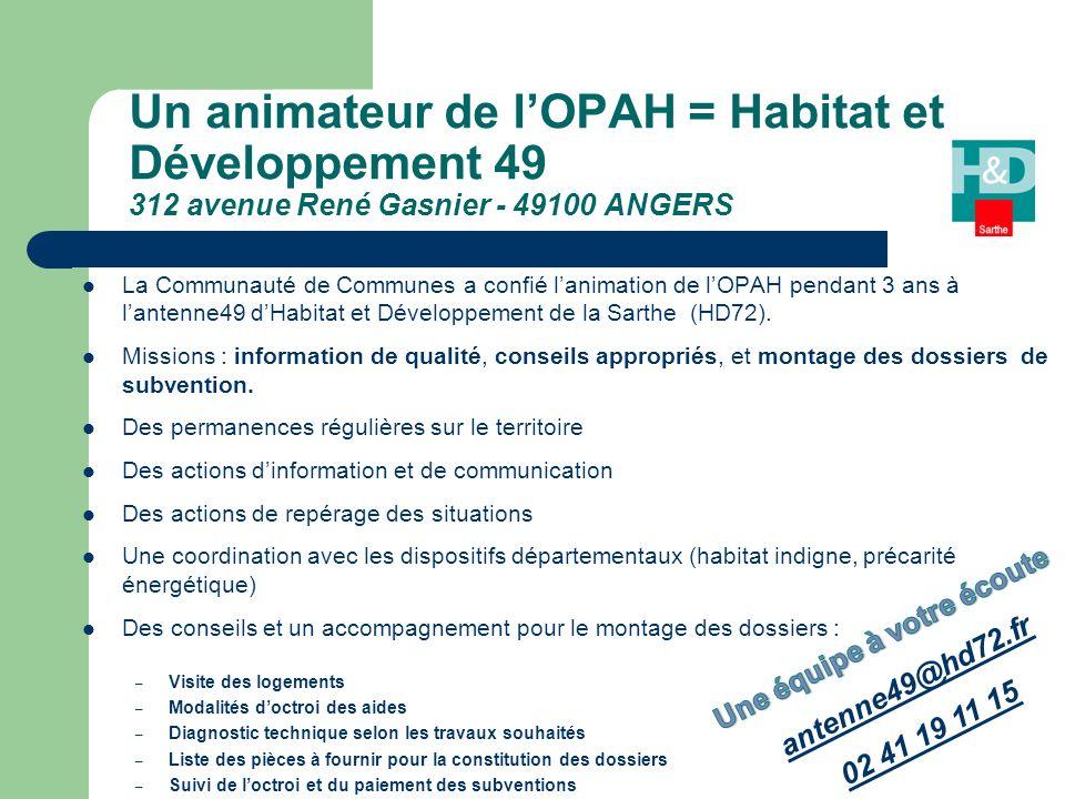 La Communauté de Communes a confié lanimation de lOPAH pendant 3 ans à lantenne49 dHabitat et Développement de la Sarthe (HD72).