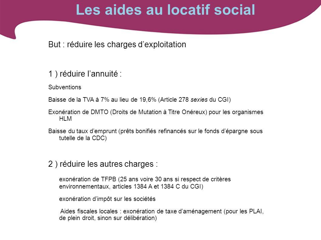Les aides au locatif social But : réduire les charges dexploitation 1 ) réduire lannuité : Subventions Baisse de la TVA à 7% au lieu de 19,6% (Article