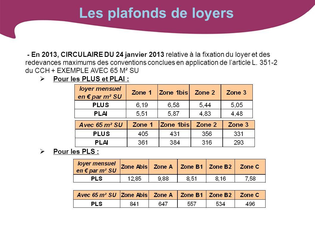 - En 2013, CIRCULAIRE DU 24 janvier 2013 relative à la fixation du loyer et des redevances maximums des conventions conclues en application de larticl