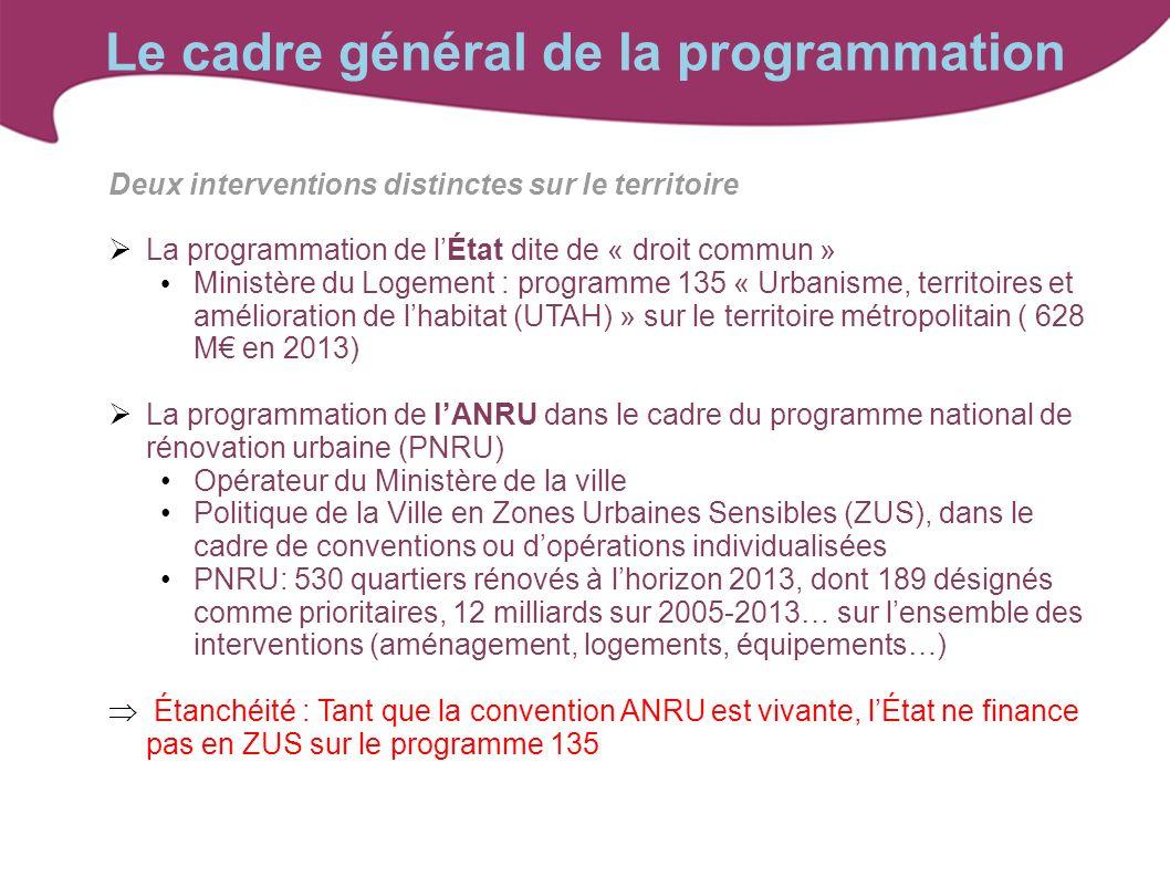 Le cadre général de la programmation Deux interventions distinctes sur le territoire La programmation de lÉtat dite de « droit commun » Ministère du L