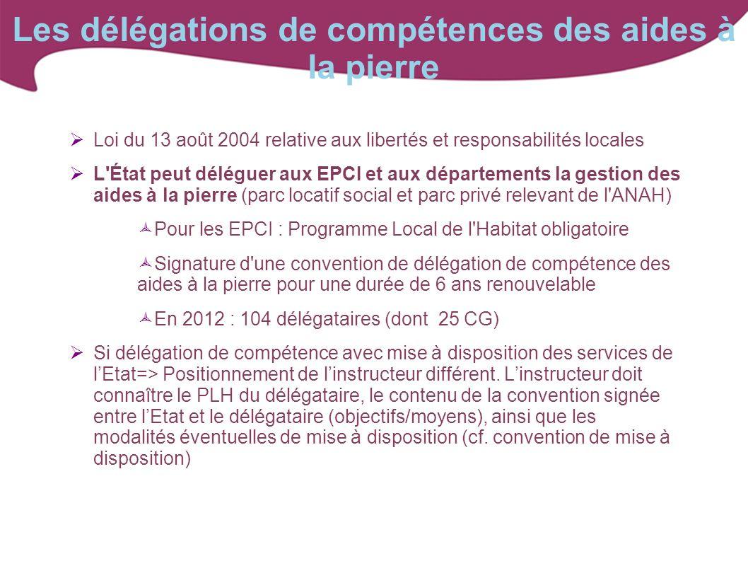Les délégations de compétences des aides à la pierre Loi du 13 août 2004 relative aux libertés et responsabilités locales L'État peut déléguer aux EPC