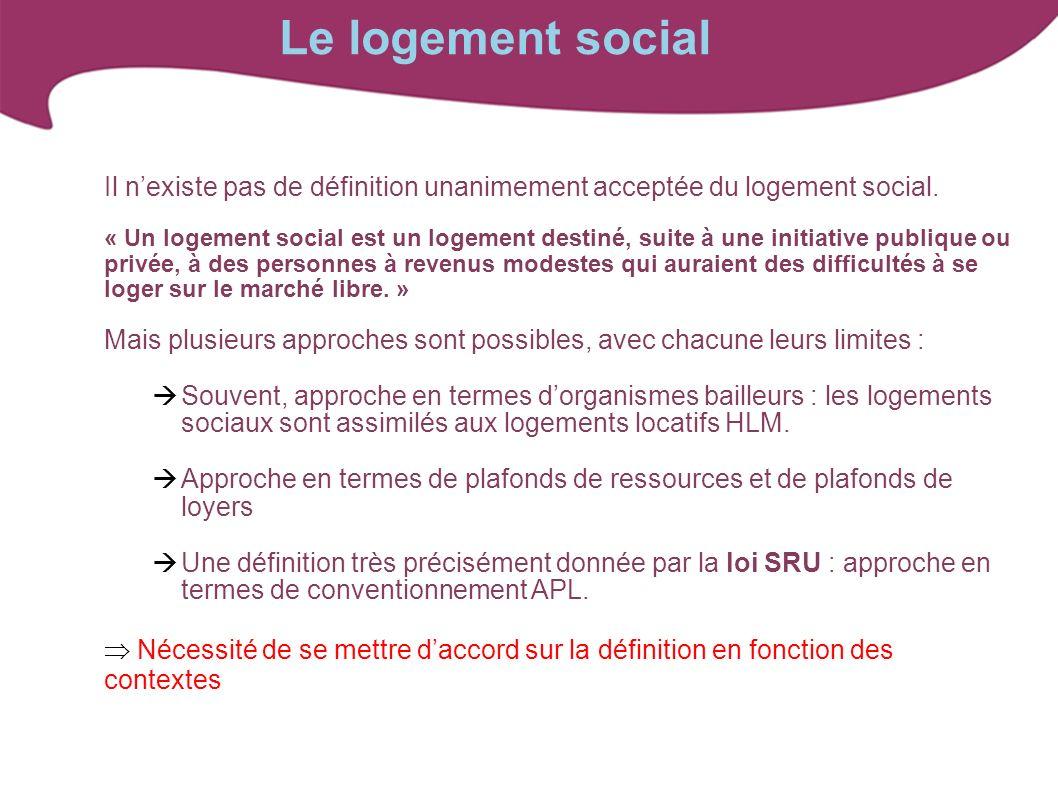 Le logement social Il nexiste pas de définition unanimement acceptée du logement social. « Un logement social est un logement destiné, suite à une ini
