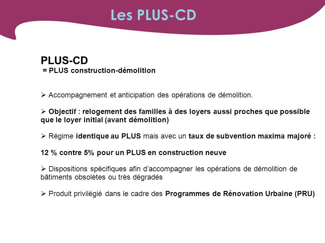 PLUS-CD = PLUS construction-démolition Accompagnement et anticipation des opérations de démolition. Objectif : relogement des familles à des loyers au