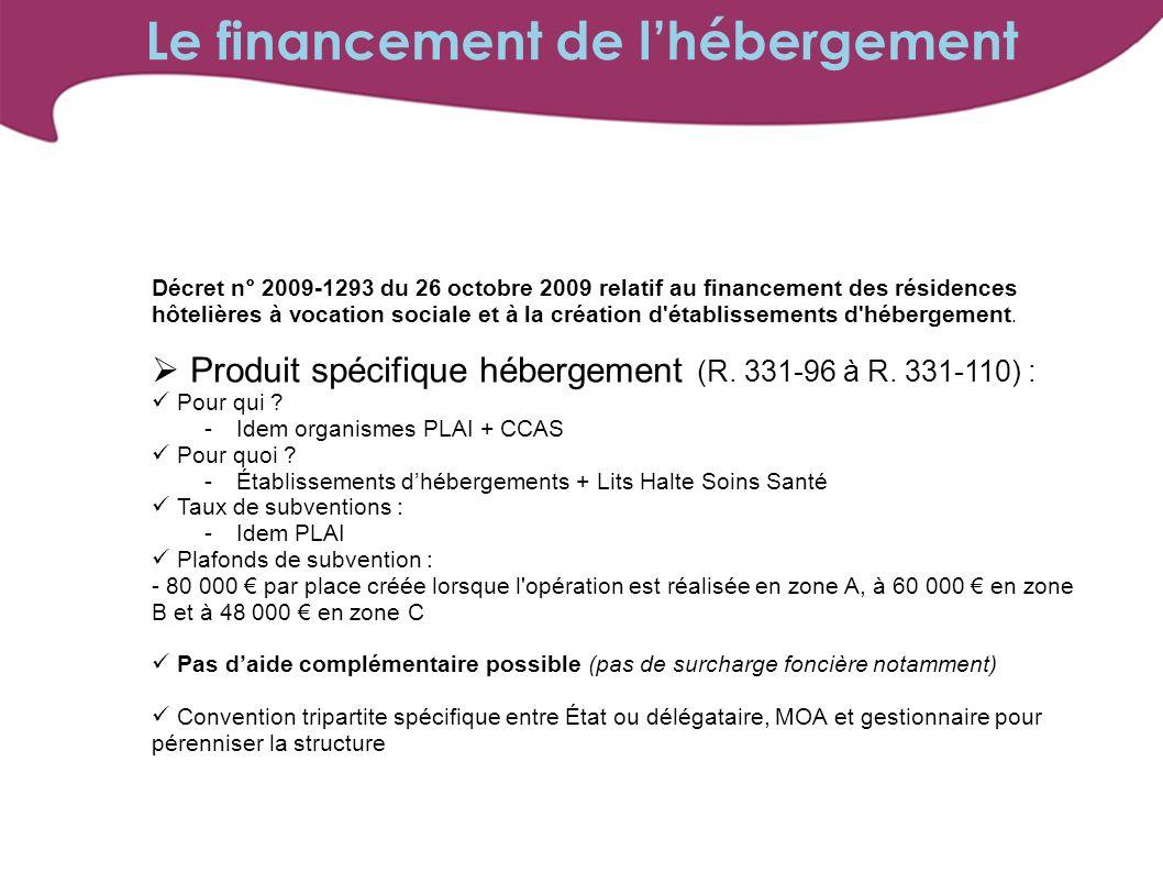 Décret n° 2009-1293 du 26 octobre 2009 relatif au financement des résidences hôtelières à vocation sociale et à la création d'établissements d'héberge