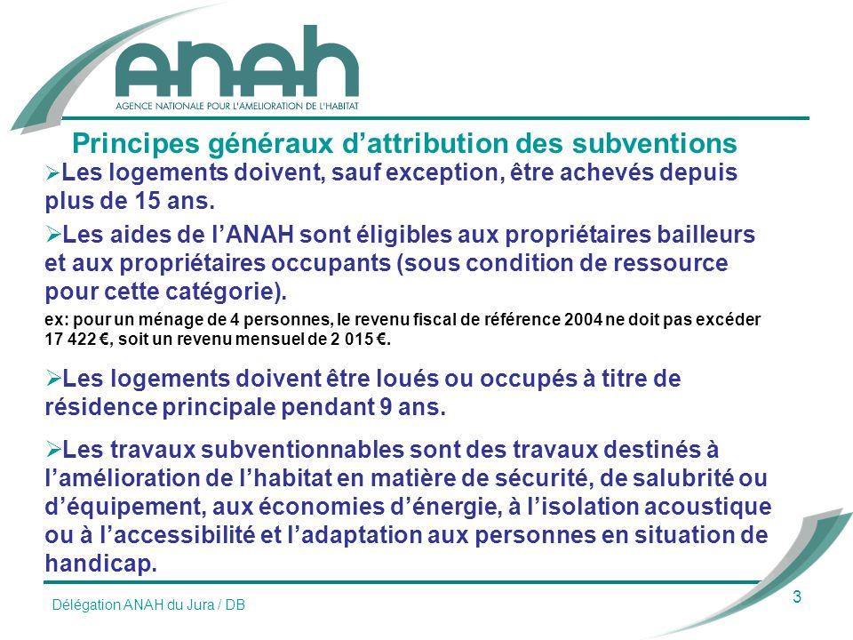 3 Principes généraux dattribution des subventions Les logements doivent, sauf exception, être achevés depuis plus de 15 ans.