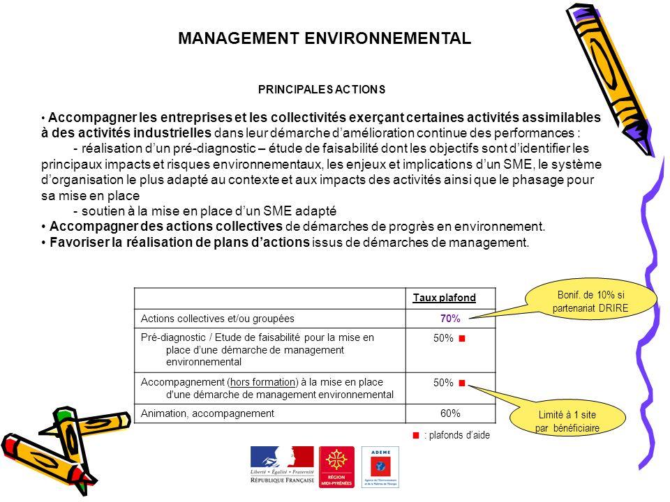 MANAGEMENT ENVIRONNEMENTAL PRINCIPALES ACTIONS Accompagner les entreprises et les collectivités exerçant certaines activités assimilables à des activi