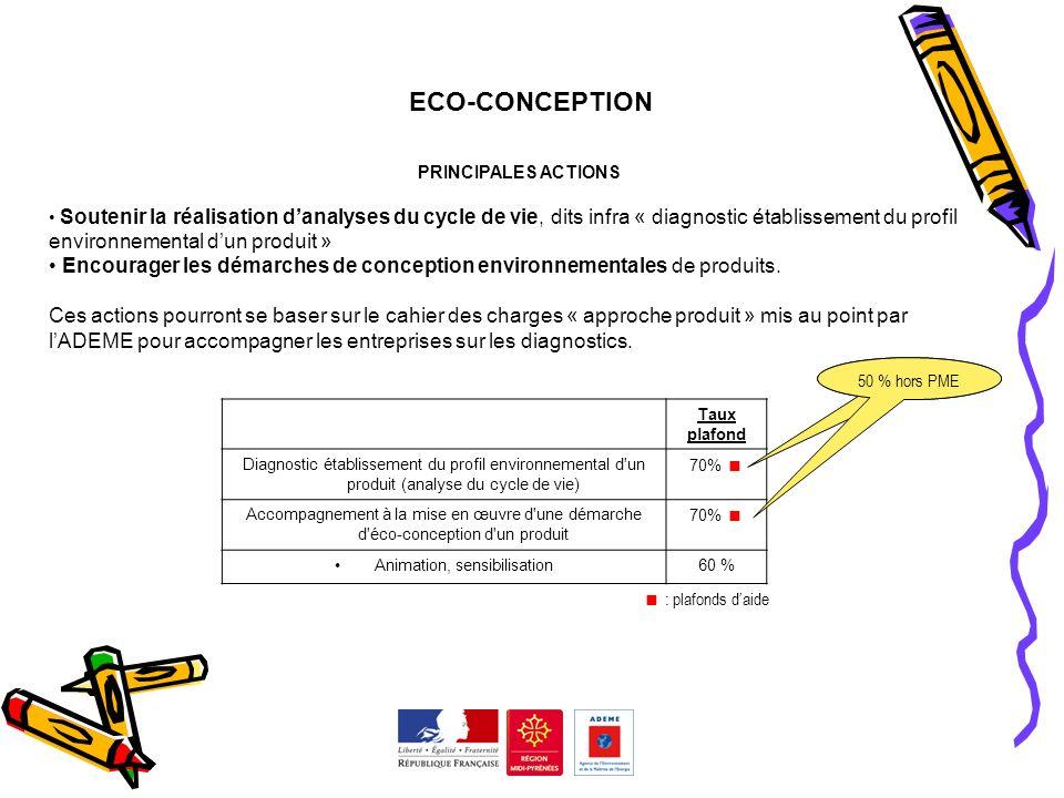 ECO-CONCEPTION PRINCIPALES ACTIONS Soutenir la réalisation danalyses du cycle de vie, dits infra « diagnostic établissement du profil environnemental