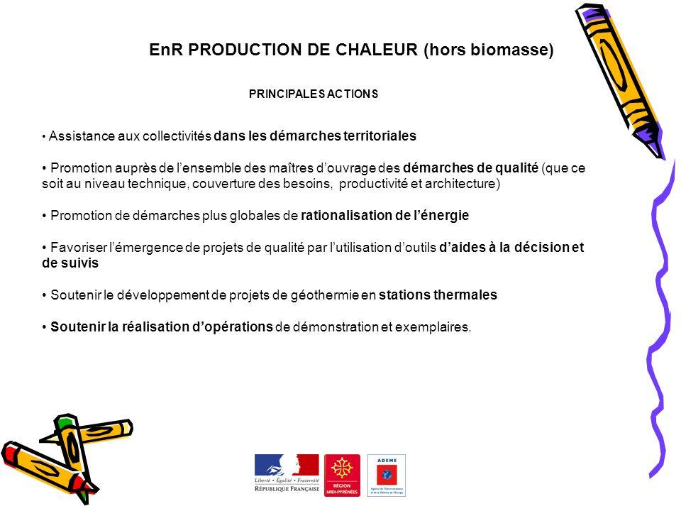 EnR PRODUCTION DE CHALEUR (hors biomasse) PRINCIPALES ACTIONS Assistance aux collectivités dans les démarches territoriales Promotion auprès de lensem