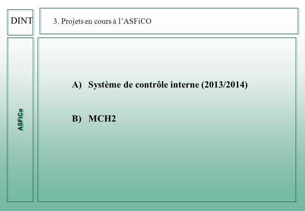 ASFiCo DINT 3. Projets en cours à lASFiCO A)Système de contrôle interne (2013/2014) B)MCH2