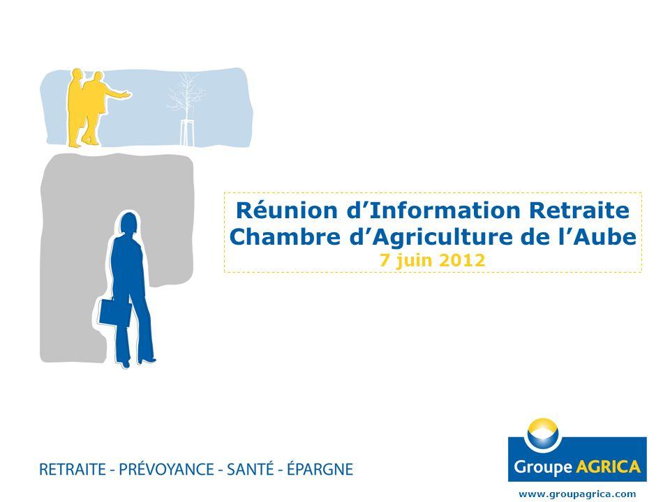 Réunion dInformation Retraite Chambre dAgriculture de lAube 7 juin 2012 www.groupagrica.com