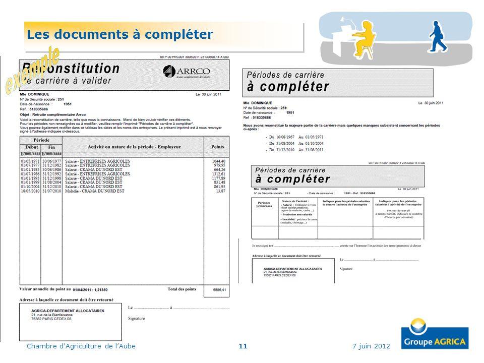 7 juin 2012Chambre dAgriculture de lAube11 Les documents à compléter