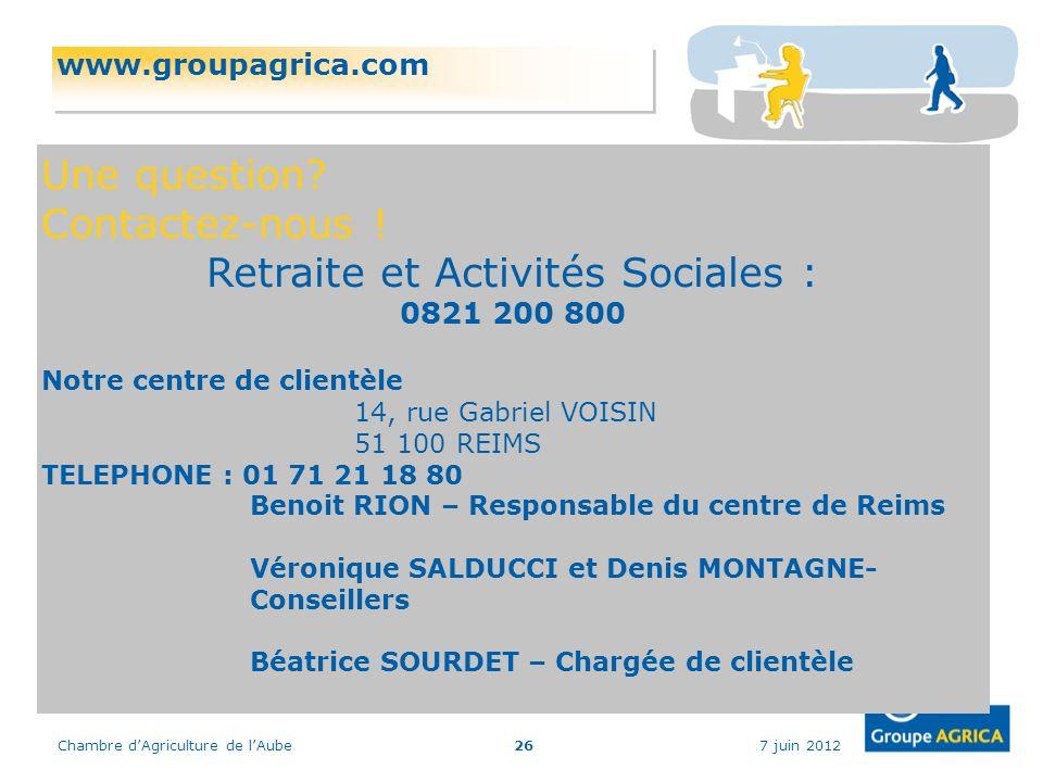 7 juin 2012Chambre dAgriculture de lAube26 www.groupagrica.com Une question? Contactez-nous ! Retraite et Activités Sociales : 0821 200 800 Notre cent