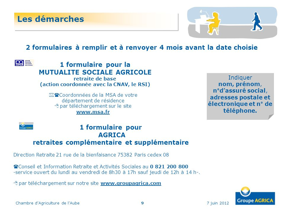 7 juin 2012Chambre dAgriculture de lAube9 Les démarches 1 formulaire pour la MUTUALITE SOCIALE AGRICOLE retraite de base (action coordonnée avec la CN