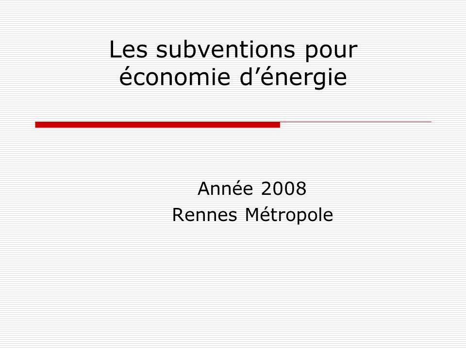 Les subventions pour économie dénergie Année 2008 Rennes Métropole