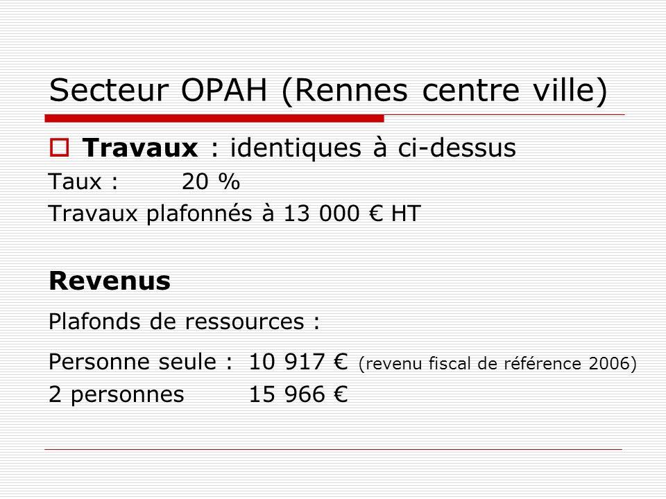 Secteur OPAH (Rennes centre ville) Travaux : identiques à ci-dessus Taux :20 % Travaux plafonnés à 13 000 HT Revenus Plafonds de ressources : Personne seule :10 917 (revenu fiscal de référence 2006) 2 personnes 15 966