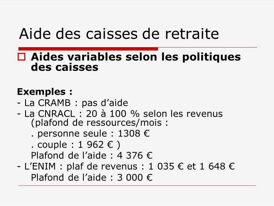 Aide des caisses de retraite Aides variables selon les politiques des caisses Exemples : - La CRAMB : pas daide - La CNRACL : 20 à 100 % selon les revenus (plafond de ressources/mois :.