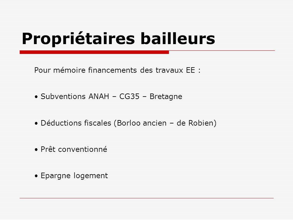 Propriétaires bailleurs Pour mémoire financements des travaux EE : Subventions ANAH – CG35 – Bretagne Déductions fiscales (Borloo ancien – de Robien) Prêt conventionné Epargne logement