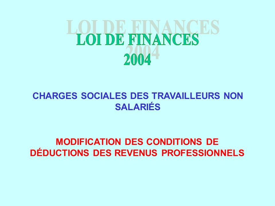 CHARGES SOCIALES DES TRAVAILLEURS NON SALARIÉS MODIFICATION DES CONDITIONS DE DÉDUCTIONS DES REVENUS PROFESSIONNELS