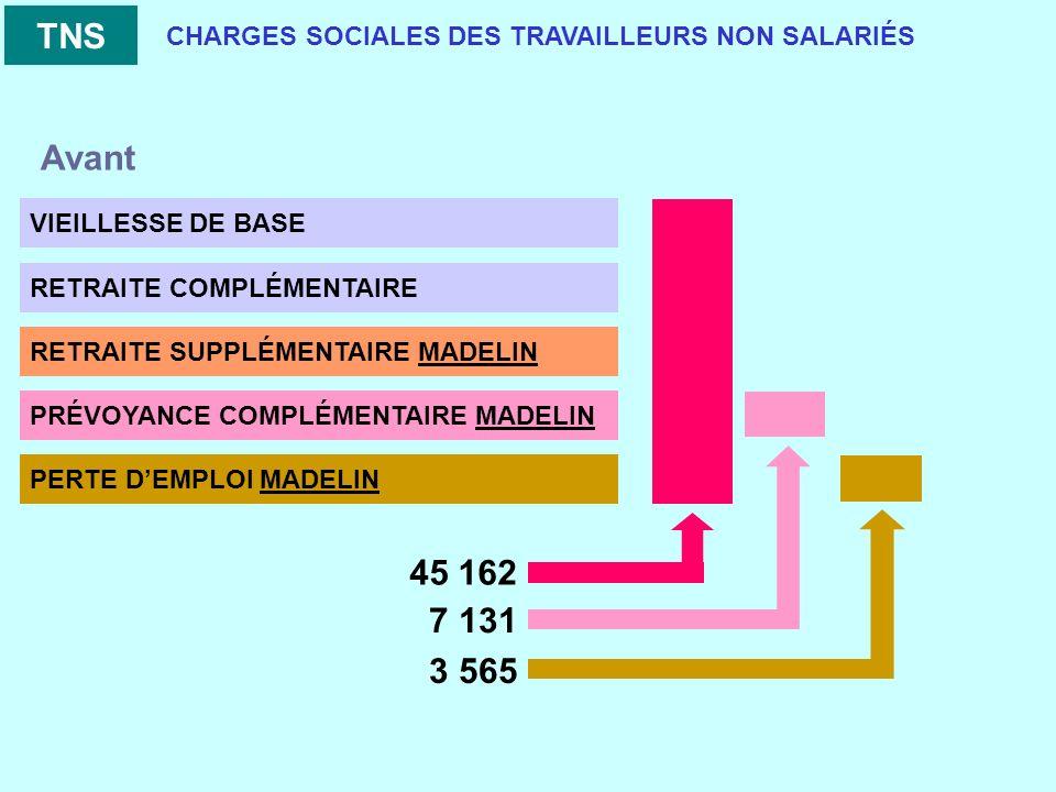 CHARGES SOCIALES DES TRAVAILLEURS NON SALARIÉS VIEILLESSE DE BASE RETRAITE COMPLÉMENTAIRE RETRAITE SUPPLÉMENTAIRE MADELIN PRÉVOYANCE COMPLÉMENTAIRE MADELIN PERTE DEMPLOI MADELIN TNS 45 162 7 131 3 565 Avant