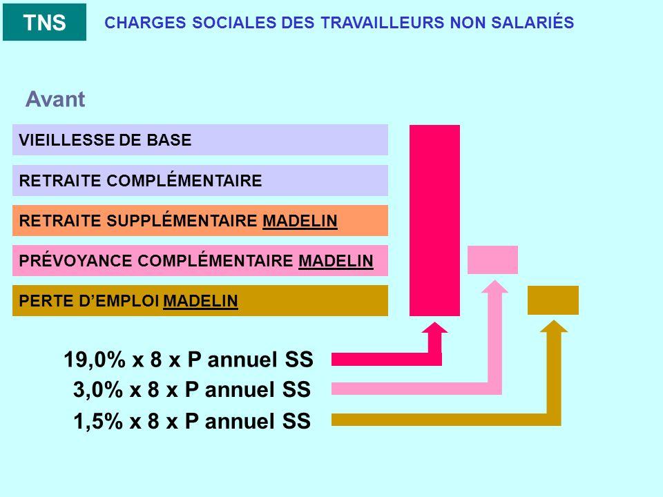 CHARGES SOCIALES DES TRAVAILLEURS NON SALARIÉS VIEILLESSE DE BASE RETRAITE COMPLÉMENTAIRE RETRAITE SUPPLÉMENTAIRE MADELIN PRÉVOYANCE COMPLÉMENTAIRE MADELIN PERTE DEMPLOI MADELIN TNS 19,0% x 8 x P annuel SS 3,0% x 8 x P annuel SS 1,5% x 8 x P annuel SS Avant