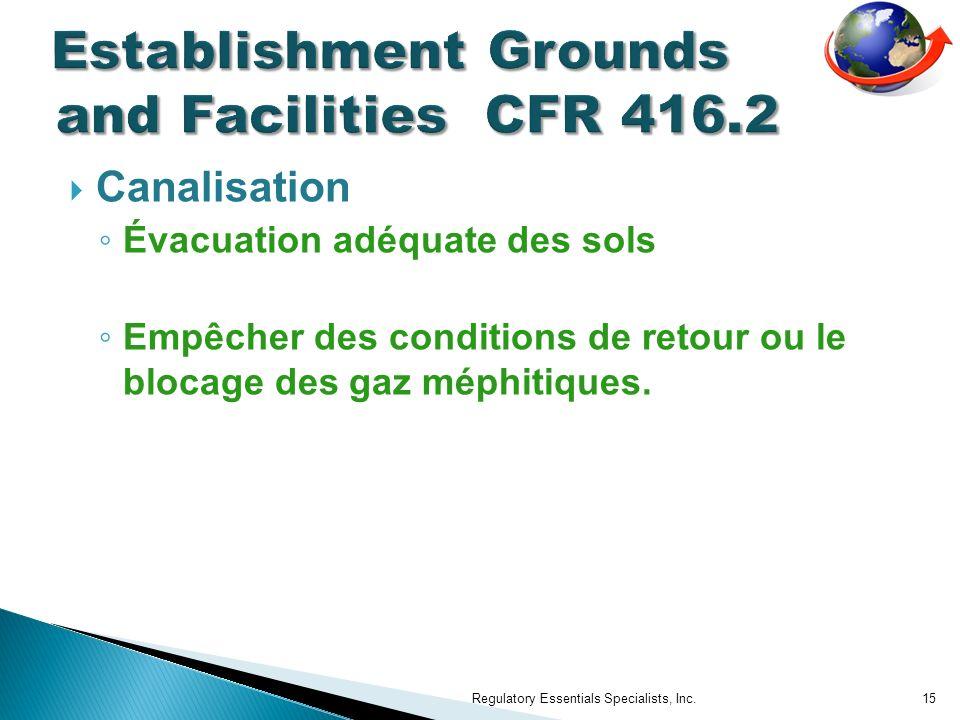 Canalisation Évacuation adéquate des sols Empêcher des conditions de retour ou le blocage des gaz méphitiques. Regulatory Essentials Specialists, Inc.
